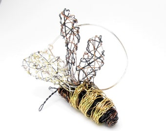 Large bee brooch, jacket, bee pin, honey bee jewelry, black gold, wire sculpture, modern, contemporary, art jewelry, Christmas, teacher gift
