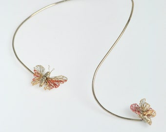 Silver butterfly necklace Two butterflies gold Wire insect art necklace Fine jewelry Asymmetrical Rigid necklace Modern Bridal jewelry set