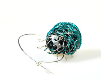 Blue Ladybug brooch pin insects jewelry, Green beetle brooch, Wire ladybird sculpture jewelry art
