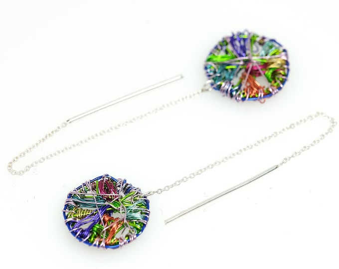 Featured listing image: Colorful long chain  earrings, Circle threader earrings drop, Disc wire earrings modern