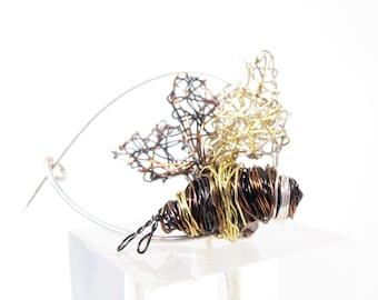 Bumble bee brooch, art pin cute, trendy jewelry
