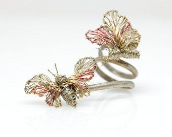 Silver butterfly ring, statement art jewelry