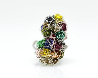 Abstract flower ring, wire art work, trendy ring