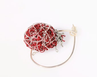 Sculpture wire, red lady bug art pins, beetle pin