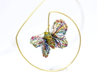 Olive green wire art, 14k gold butterfly necklace