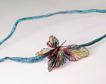 Butterfly sculpture necklace Wire butterfly necklace Burgundy butterfly Turquoise Art necklace Large insect jewelry Long statement necklace