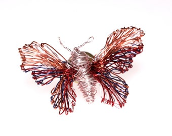 Red pink butterfly pin, insect art, fairy wings