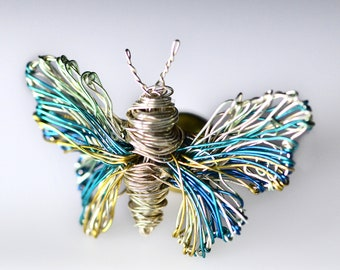 Contemporary brooches, Light blue butterfly pin, Modern statement jewelry, Wire insects art