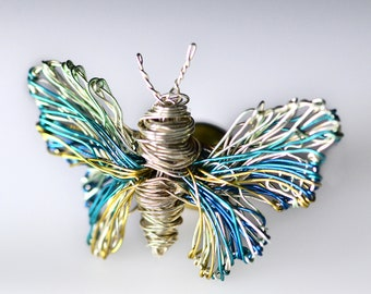 Light blue Butterfly Brooch Wire sculpture Cute Art pins Wire wrapped jewelry Silver butterfly jewelry Insect jewelry Contemporary jewelry