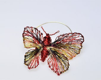 Red butterfly brooch, dress, large brooch, insect pin, modern, nature inspired, wire sculpture art, unusual jewelry, Summer gift for teacher