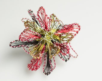 Red Flower Brooch Abstract flower Art pin Wire Sculpture Modern jewelry Unique Brooch Art Jewelry Unusual Red green flower Mother Gift