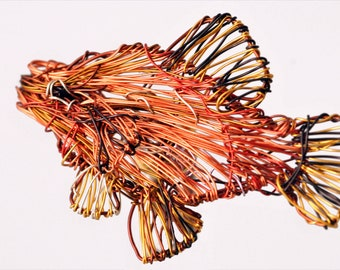 Orange Fish pin Wire fish sculpture art jewelry Fish brooch Sea animal jewelry Unusual brooch Tropical fish jewelry Contemporary jewelry