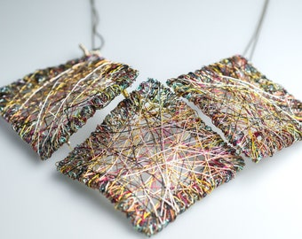 Square necklace Wire art sculpture jewelry Gold Bib necklace Contemporary jewelry Unusual necklace Big statement necklace Wearable Art