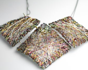 Square necklace statement art, aesthetic jewelry