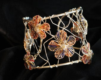 Flower bracelet Solid silver bangle Orange blue Wire flower sculpture Art bracelet Wide bangle bracelet Modern contemporary Luxury jewelry
