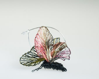 Black pink butterfly pin, insect art, fairy wings