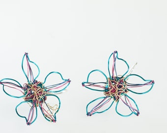 Pink turquoise flower earrings wire, artsy earrings