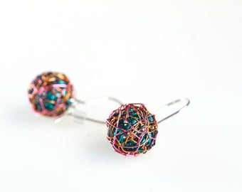 Pink turquoise, wire art, ball drop earrings