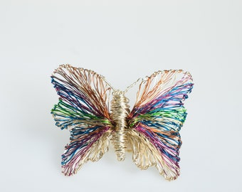 Wire sculpture butterfly brooch, Rainbow butterfly pin, Modern brooch gold, Insect art jewelry