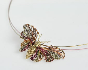 Butterfly pendant wire art, dainty gold necklace