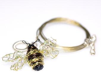 Honey bee necklace, bee sculpture wire art jewelry