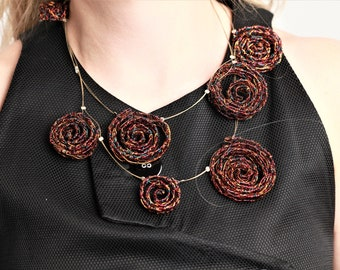 Burgundy, labyrinth art, spiral chain necklace