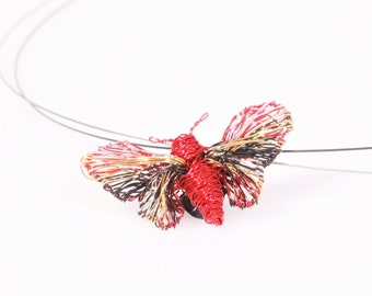 Red butterfly necklace Wire butterfly Art necklace Wire wrap pendant Butterfly pendant Insect jewelry Cute necklace Modern Bright jewelry