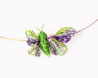Wire butterfly Tiny sculpture Art necklace Green butterfly necklace Light green pendant Violet jewelry Insect necklace Whimsical jewelry