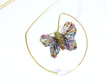 Geometric butterfly necklace art sculpture, 14k gold plated necklace, Wire bug necklace contemporary