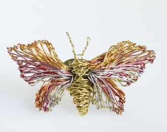 Gold Butterfly brooch Wire butterfly sculpture art pin Pink gold jewelry Insect brooch Cute pins Modern hippie Unusual gifts Art jewelry
