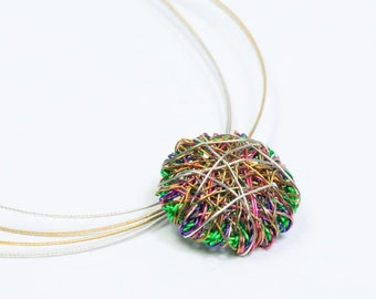Disc necklace Art necklace Multicolor necklace Wire art jewelry Contemporary jewelry Round necklace Cute pendant Unusual necklace