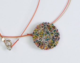 Circle disc necklace art, Yellow orange necklace round plate, Cute dainty necklace, Handmade wire jewelry