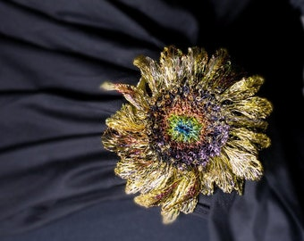 Sunflower pin, wearable sculpture wire art jewelry