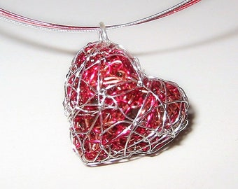 Red heart necklace, Wire heart sculpture art jewelry modern necklace