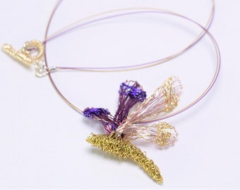 Gold dragonfly necklace Wire dragonfly sculpture Art necklace Purple dragonfly pendant Insect necklace Elegant necklace Unusual jewelry