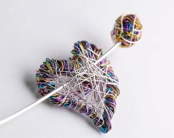 Purple heart brooch pin, Wire heart jewelry, Modern art brooch, Interchangeable jewelry