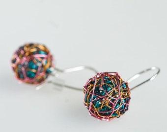 Wire sphere earrings Short dangle earrings Rainbow ball earrings Ball drop earrings Modern Minimal earrings Turquoise color earrings