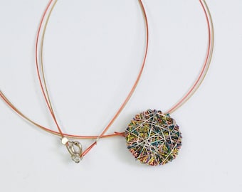 Wire art, circle disc necklace, dainty necklace