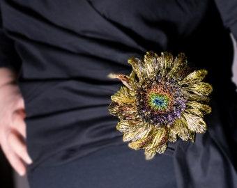 Sunflower brooch Sunflower jewelry Sunflower sculpture Gold flower brooch handmade Contemporary Wire Art pins Ooak jewelry Wearable art gift