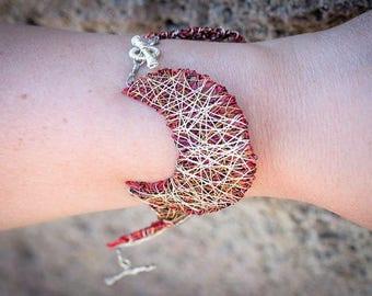 Star moon bracelet necklace Celestial jewelry Wire sculpture art bracelet Crescent moon bracelet Interchangeable Modern Red silver bracelet