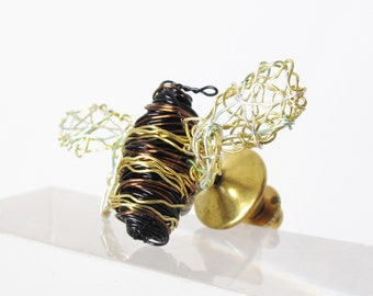 Bumble bee pin - honey bee brooch  - contemporary jewelry