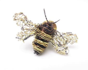 Bee jewelry, honey bee brooch, cute, dress, bee pin, black gold, Summer, wire wrapped, modern boho art jewelry, unique birthday gift for her