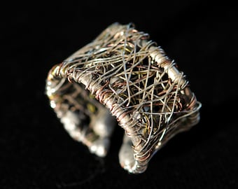 Silver band, wire art ring, contemporary rings
