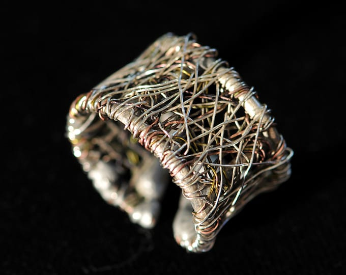 Featured listing image: Silver band, statement ring, wire art contemporary, wearable art jewelry