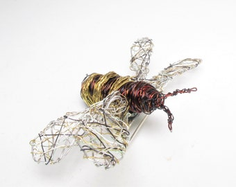 Bee jewelry, bee pin, large, dress, honey bee brooch, black gold, wire sculpture, modern boho art jewelry, Summer, unique bridesmaid gift