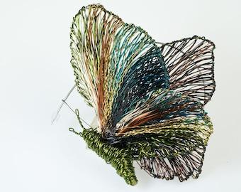 Art jewelry Green Butterfly brooch Handmade art Wire butterfly Unique brooch Unusual Jewelry Contemporary Sculptural jewelry Wire Sculpture