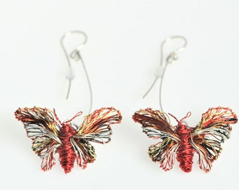 Red butterfly earrings - wire sculpture earrings - modern earrings - contemporary art jewelry