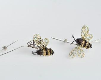 Bee earrings Bee jewelry Wire bee tiny sculpture Bee art jewelry Long hook earrings Insect Different earrings Delicate earrings Art earrings