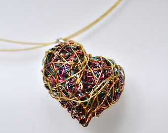 Heart necklace art, Sculptural jewelry, Modern wire jewelry unique heart pendant