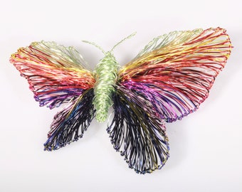 Rainbow butterfly pin Wire art sculpture Butterfly brooch large Modern Colorful art insect jewelry Wearable art Anniversary gift for her